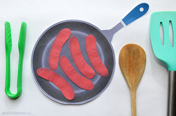 paper sausages in a pan