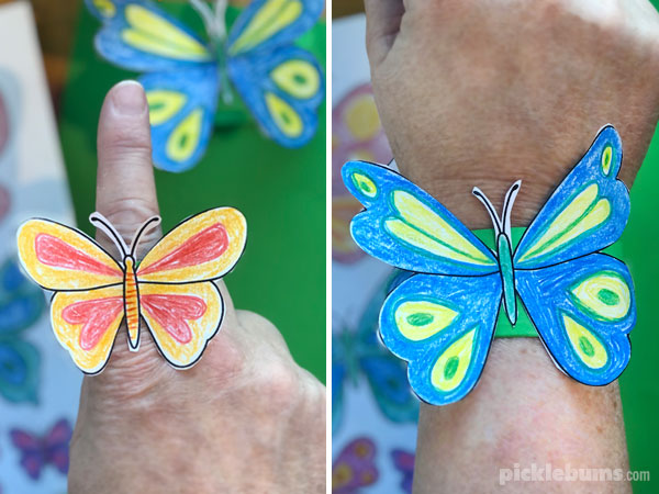 butterfly paper puppet and bracelet