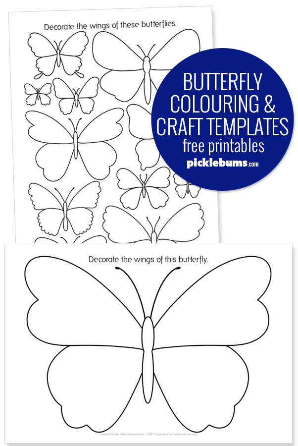 butterfly colouring and craft printable templates