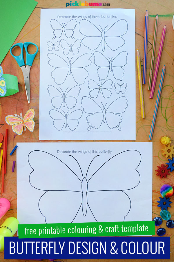 butterfly colouring and craft templates