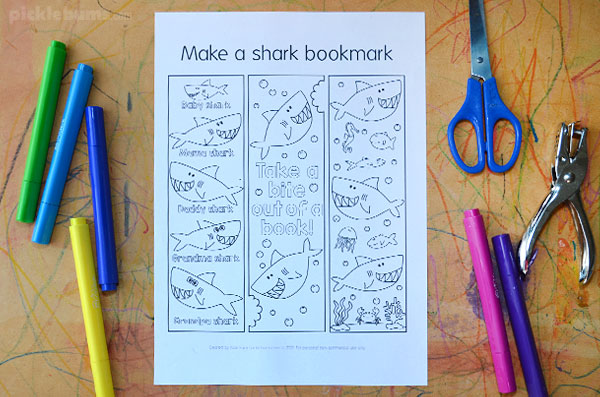 printed page with shark bookmarks