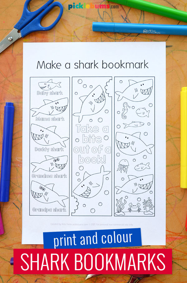 print and colour shark bookmarks