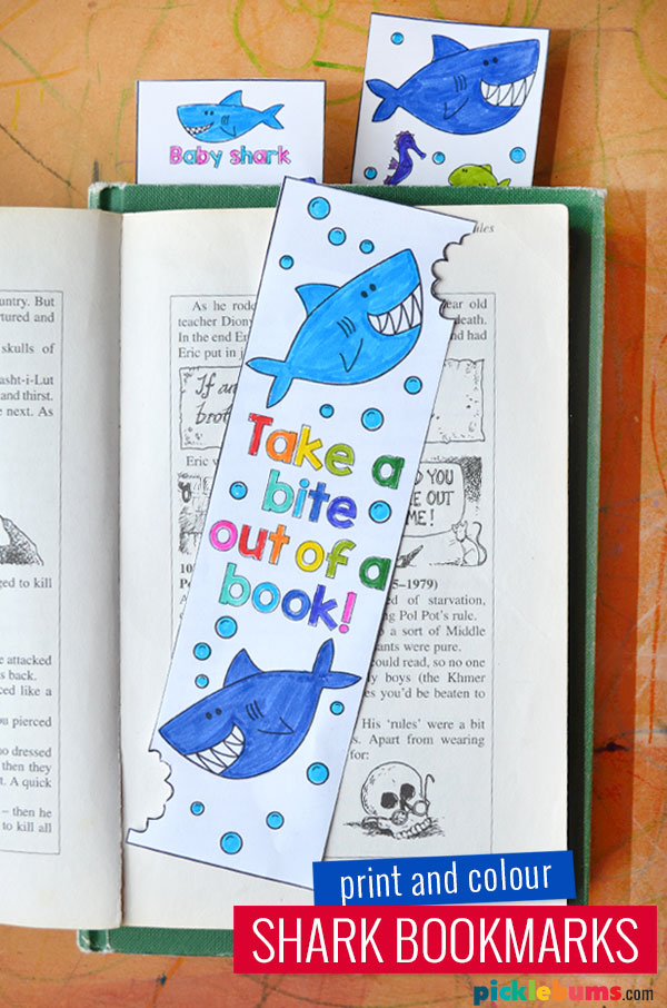 shark bookmarks in a book