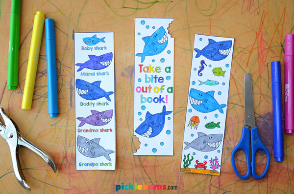 shark bookmarks and markers
