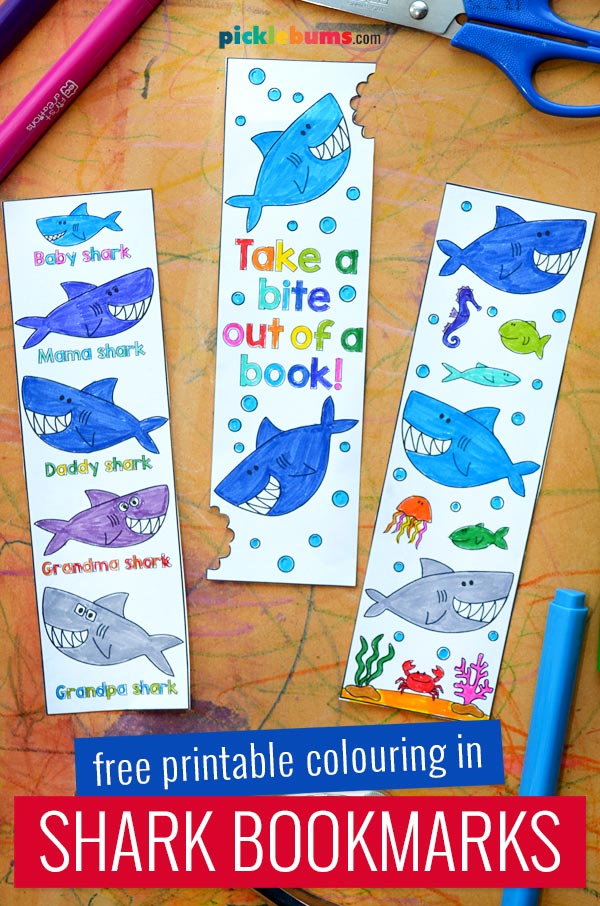 printable shark bookmarks coloured in