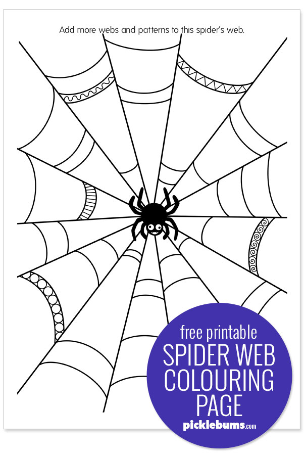 free printable spider web colouring page sample