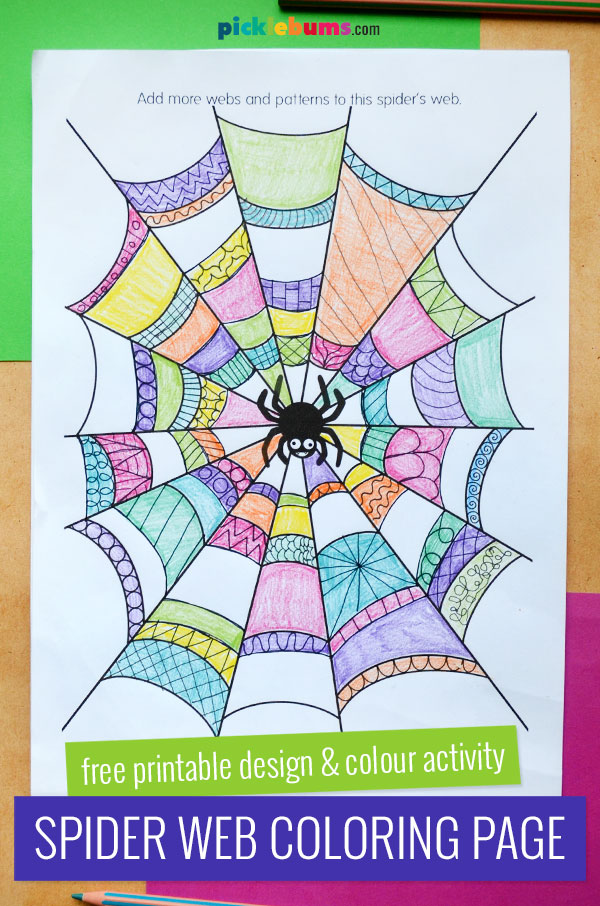 spider web colouring page