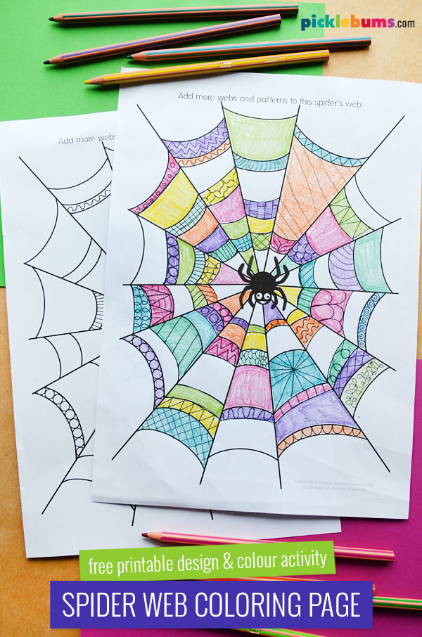 spider web design and colour pages